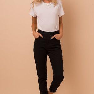 Afends slim skinny black jeans high rise